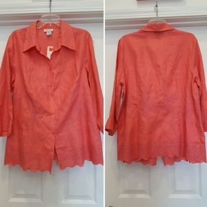 AVENUE Coral Pink Embroidered Button Down Blouse